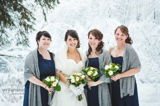 Bridesmaids in Winter Wedding, Prince George, B.C.